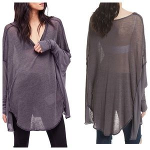 Free People Never Give Up Comfy Tee Gray Small